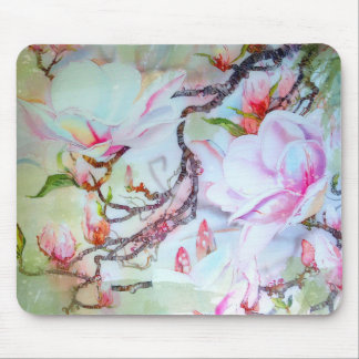 Watercolor Japanese Orchids White Pink Floral Mouse Mat