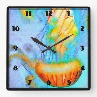 Watercolor Jellyfish Wall Clock