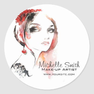 Watercolor jewellery make up artist branding classic round sticker