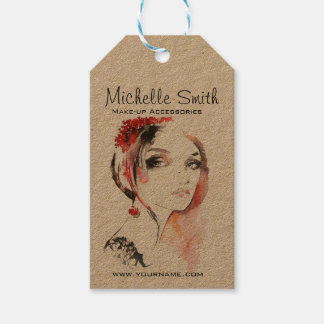 Watercolor jewellery make up artist branding gift tags