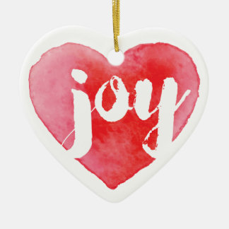 Watercolor Joy Heart Christmas Tree Ornament