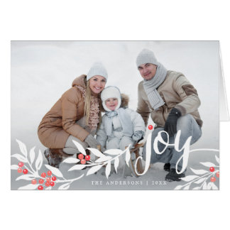 Watercolor Joyful Leaves Holiday Photo Card
