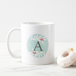 Watercolor Joyful Leaves Monogram Mug