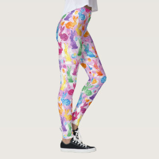 Watercolor Kaleidoscope Easter Bunny Bright Happy Leggings