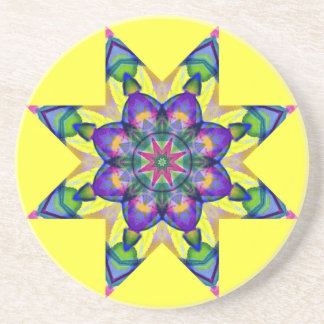 Watercolor Kaleidoscopic Mandala Design Coaster.1 Coaster