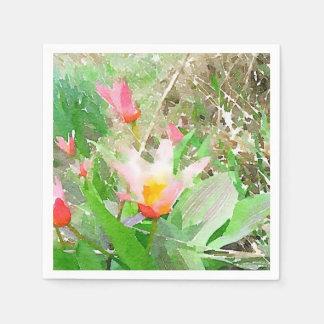 Watercolor Kaufmanniana Tulips Disposable Napkin