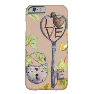 """Watercolor Key and Lock """"I love You"""" Iphone case"""