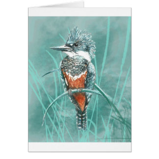 Watercolor Kingfisher Bird Nature Art Card