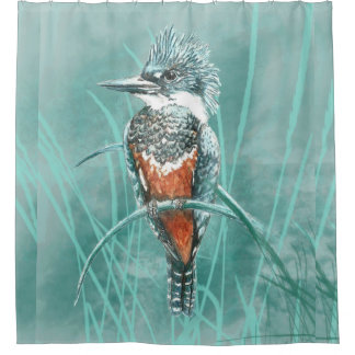 Watercolor Kingfisher Bird Nature Art Shower Curtain