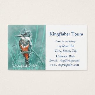 Watercolor Kingfisher Fishing Tours Business Logo Business Card