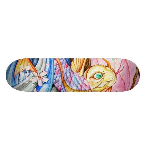 Watercolor Koi Fish Skateboard