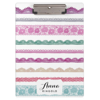 Watercolor Lace Ribbon Girly Rainbow Painted Clipboard