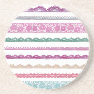 Watercolor Lace Ribbon Girly Rainbow Painted Drink Coaster