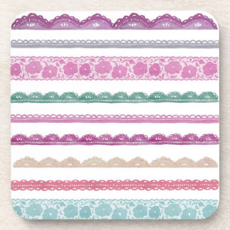 Watercolor Lace Ribbon Girly Rainbow Painted Drink Coasters