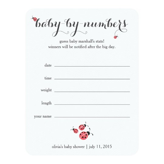 Watercolor Ladybug Baby Shower Guessing Game Invitation