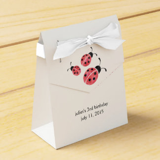Watercolor Ladybug Birthday Party Favor Boxes