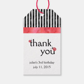 Watercolor Ladybug Birthday Party Favor Tags
