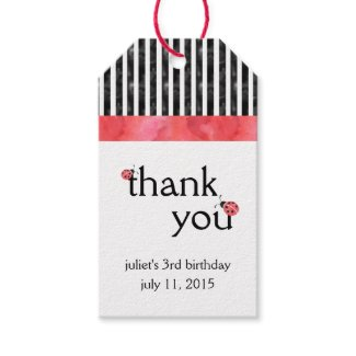Watercolor Ladybug Birthday Party Favour Tags