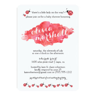 Watercolor Ladybug Girl Baby Shower Invitations