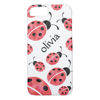 Watercolor Ladybug Personalized iPhone Case