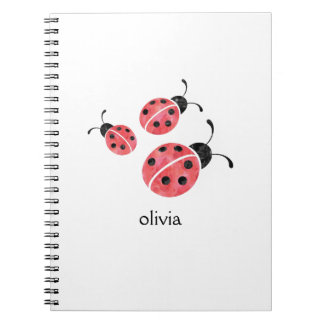 Watercolor Ladybug Personalized Spiral Notebook