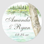 Watercolor Lake and Carve Tree Heart Round Sticker