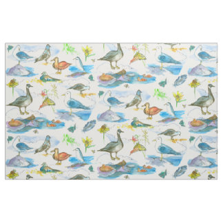 Watercolor Lake Shore Birds Ducks Fabric