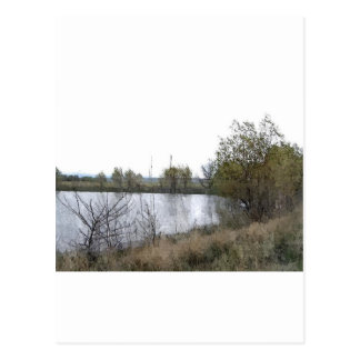 Watercolor Lake with Trees and Twigs Postcard