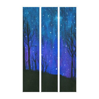Watercolor Landscape Art Night Sky Stars Universe Canvas Print