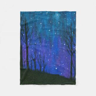 Watercolor Landscape Art Night Sky Stars Universe Fleece Blanket