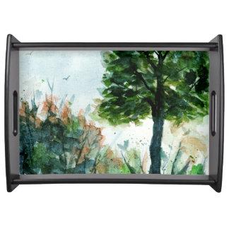 Watercolor Landscape Art Tree Nature Seasons Serving Tray