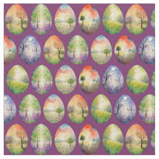 Watercolor Landscape Easter Eggs Fabric