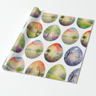 Watercolor Landscape Easter Eggs Wrapping paper