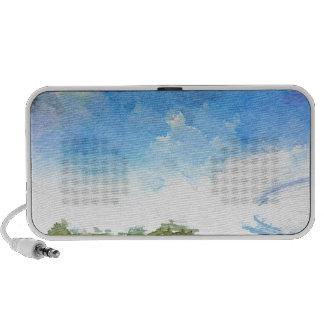 Watercolor Landscape Lake Doodle Travel Speakers