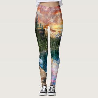 Watercolor Landscape Leggings