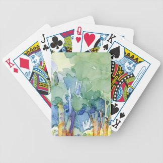 watercolor landscapes poker deck