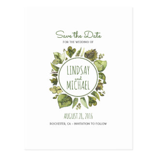 Watercolor Laurel - Greenery Wreath Save the Date Postcard