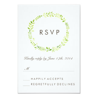 Watercolor Laurel RSVP Card