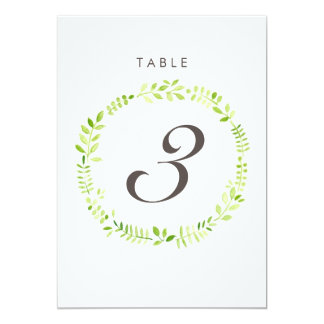 Watercolor Laurel Table Number Card