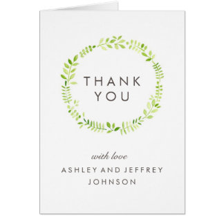 Watercolor Laurel Thank You Card