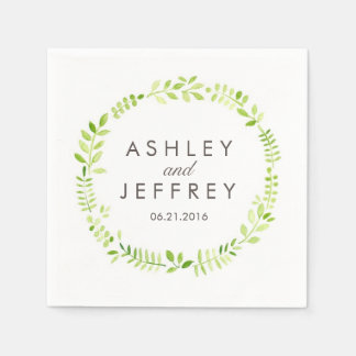 Watercolor Laurel Wedding Paper Napkin