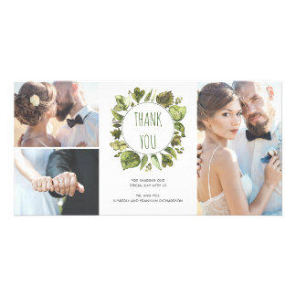 Watercolor Laurel Wreath Greenery Thank You Custom Photo Card