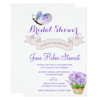 Watercolor lavender butterfly french bridal shower card