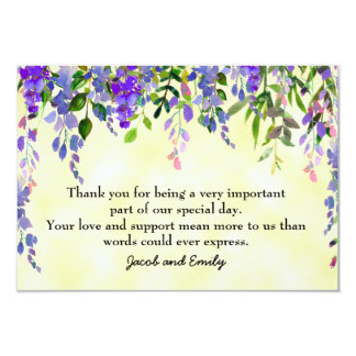 Watercolor Lavender Floral Yellow Thank You Card