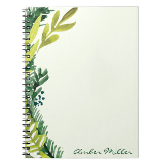 Watercolor Leaf Floral Notebook