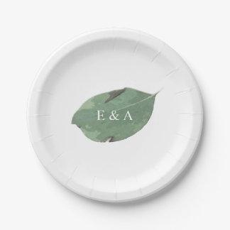 Watercolor leaf paper plate