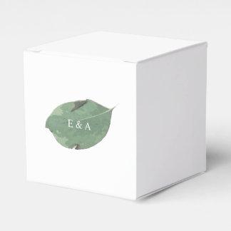 Watercolor leaf wedding favor box
