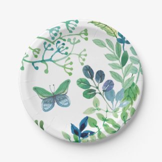 Watercolor Leaves and Butterflies Jungle 7 Inch Paper Plate