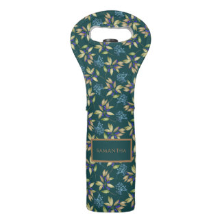 Watercolor Leaves and Flowers Pattern on Teal Wine Bag