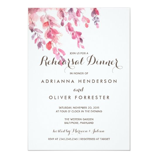 Watercolor Leaves Chic Rehearsal Dinner Card